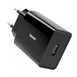 BASEUS Baseus 18W 3A USB-A QC3.0 Snabbladdare - Svart - Teknikhallen.se