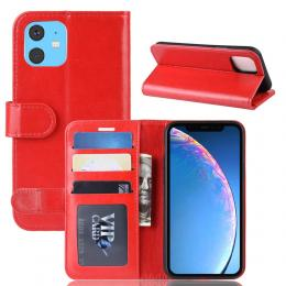 iPhone 11 - Crazy Horse Plånboksfodral - Röd - Teknikhallen.se