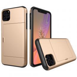 iPhone 11 - Hybrid skal med kortfunktion - Guld - Teknikhallen.se
