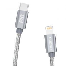 DUDAO Dudao 1m 45W 5A PD Lightning - USB-C Flätad Nylon - Grå - Teknikhallen.se