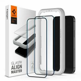Spigen iPhone 12 Pro Max - Spigen 2-PACK AlignMaster GLAS.tR Heltäckande Skärmskydd - Teknikhallen.se