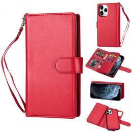 iPhone 12 / 12 Pro - 9-korts 2in1 Magnet/Fodral - Röd - Teknikhallen.se