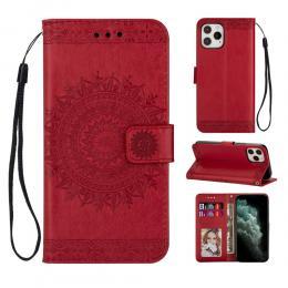iPhone 12 / 12 Pro - Mandala Plånboksfodral - Röd - Teknikhallen.se