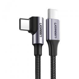 UGREEN Ugreen 2m 60W 3A Elbow USB-C - USB-C Flätad Nylon Kabel - Svart/Grå - Teknikhallen.se