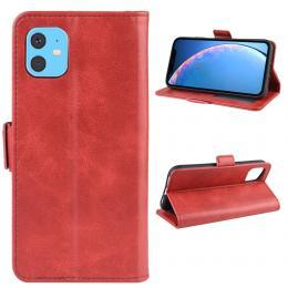 iPhone 11 - Plånboksfodral PU-Läder - Röd - Teknikhallen.se