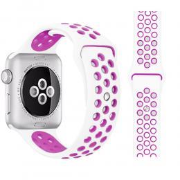 Ihåligt Silikon Armband Apple Watch 40/38 mm (M/L) - Vit/Lila - Teknikhallen.se