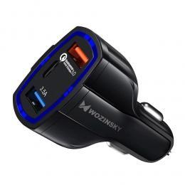 Wozinsky Wozinsky Quick Charge Billaddare 3x USB - Svart - Teknikhallen.se