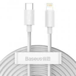 BASEUS 2-PACK BASEUS Wisdom 1.5m 20W Type-C - Lightning Kabel - Vit - Teknikhallen.se