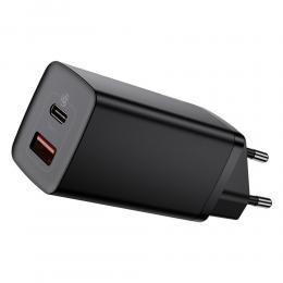BASEUS Baseus GaN2 65W PD QC USB-C / USB-A Snabbladdare - Svart - Teknikhallen.se