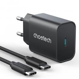 Choetech Choetech 25W 3A PPS PD Snabbladdare + 2m USB-C Kabel - Svart - Teknikhallen.se