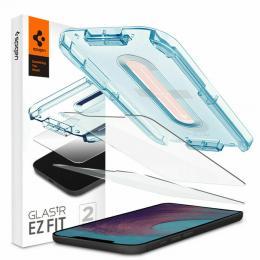 """Spigen iPhone 12 Pro Max - Spigen 2-pack GLAS.tR """"Ez Fit"""" Skärmskydd - Teknikhallen.se"""