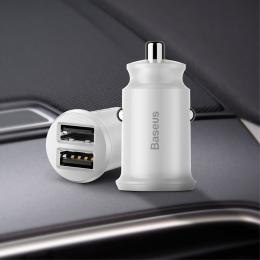 BASEUS Baseus Grain Billaddare Dubbel-USB 3.1A - Vit - Teknikhallen.se