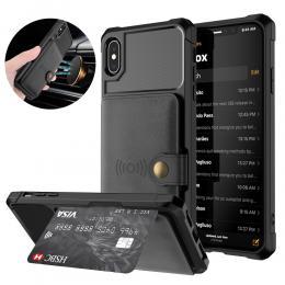 iPhone X/Xs - Skal Med Magnetiskt Plånbok - Svart - Teknikhallen.se