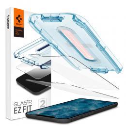 """Spigen iPhone 12 / 12 Pro - Spigen 2-PACK GLAS.tR """"Ez Fit"""" Skärmskydd - Teknikhallen.se"""
