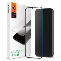 Spigen iPhone 12 / 12 Pro - Spigen GLAS.tR Slim Heltäckande Skärmskydd - Teknikhallen.se