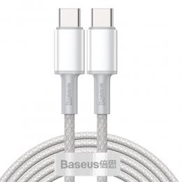 BASEUS Baseus 2m 100W 5A PD QC USB-C - USB-C Flätad Nylon Kabel - Vit - Teknikhallen.se
