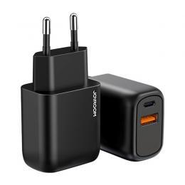 JOYROOM Joyroom 20W Snabbladdare USB-C / USB-A PD QC 3.0 - Svart - Teknikhallen.se