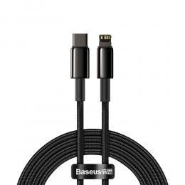 BASEUS Baseus 2m 20W PD USB-C - Lightning Flätad Nylon Kabel - Svart - Teknikhallen.se