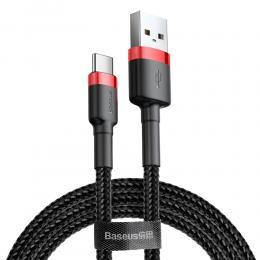 BASEUS Baseus Cafule 2m USB-C QC3.0 Laddningskabel - Svart/Röd - Teknikhallen.se
