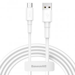 BASEUS BASEUS USB till Micro-USB kabel, 1m, 2.4A - Vit - Teknikhallen.se