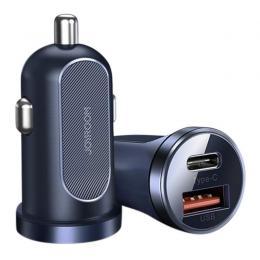 JOYROOM Joyroom Mini 30W 5A PD QC USB-C / USB Billaddare - Mörk Blå - Teknikhallen.se