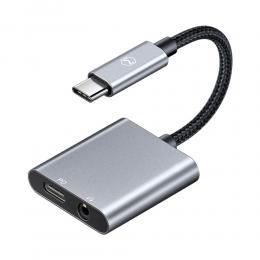 MCDODO MCDODO DAC 60W USB-C till 3.5mm AUX / USB-C Port Adapter - Grå - Teknikhallen.se